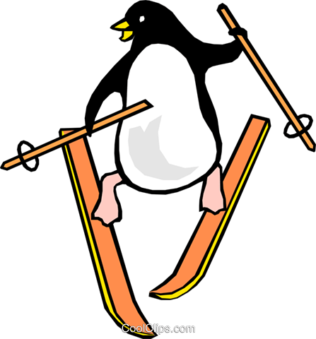 Penguins skiing Royalty Free Vector Clip Art illustration anim0996