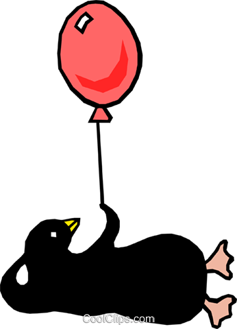 Penguin with balloon Royalty Free Vector Clip Art illustration even0360