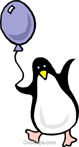 Cartoon penguin with balloon Royalty Free Vector Clip Art illustration even0362