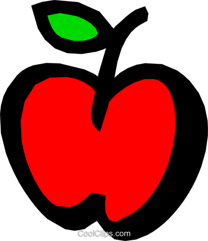Apple with leaf Royalty Free Vector Clip Art illustration food0548