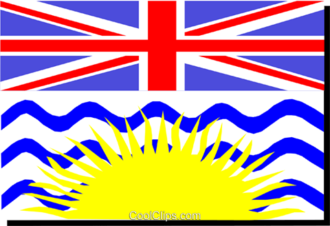 Flag of British Columbia Royalty Free Vector Clip Art illustration worl0125