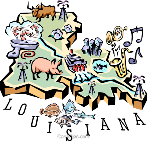 Louisiana vignette map Royalty Free Vector Clip Art illustration worl0536