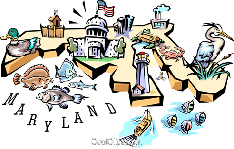 Maryland vignette map Royalty Free Vector Clip Art illustration worl0537