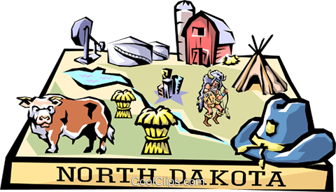 North Dakota vignette map Royalty Free Vector Clip Art illustration worl0540