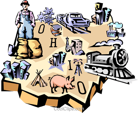 Ohio vignette map Royalty Free Vector Clip Art illustration worl0541