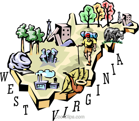 West Virginia vignette map Royalty Free Vector Clip Art illustration worl0545