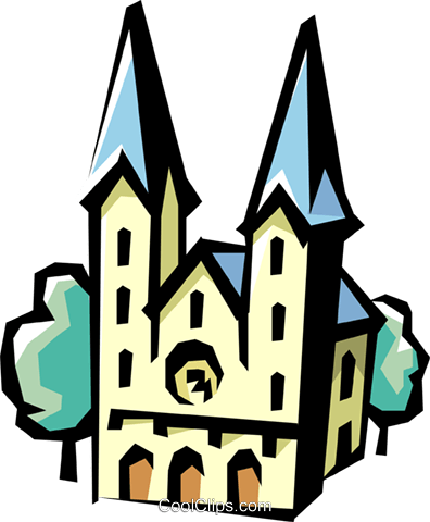 German Church Royalty Free Vector Clip Art illustration arch0119