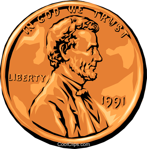Lincoln penny Royalty Free Vector Clip Art illustration busi0647