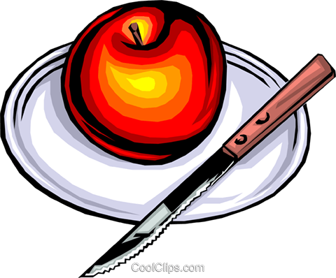 Apple on plate with knife Royalty Free Vector Clip Art illustration food0106