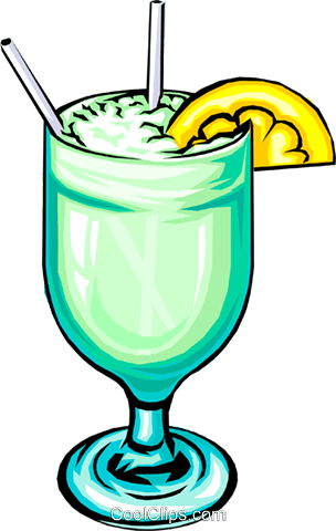 Cocktail with lemon slice Royalty Free Vector Clip Art illustration food0122