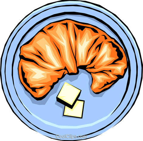 Croissant with butter Royalty Free Vector Clip Art illustration food0126
