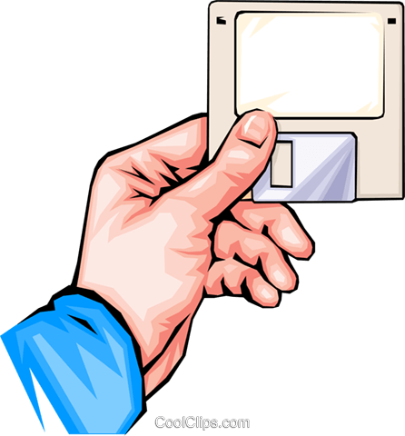 hand with floppy disk Royalty Free Vector Clip Art illustration hand0011