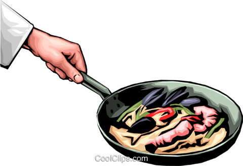 Cooking shrimp Royalty Free Vector Clip Art illustration hand0014
