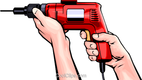 Hands with electric drill Royalty Free Vector Clip Art illustration hand0018