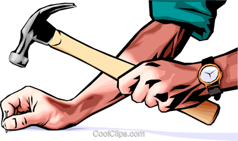 Hands with hammer Royalty Free Vector Clip Art illustration hand0019