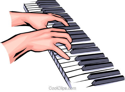 Hands Playing The Piano Royalty Free Vector Clip Art Illustration