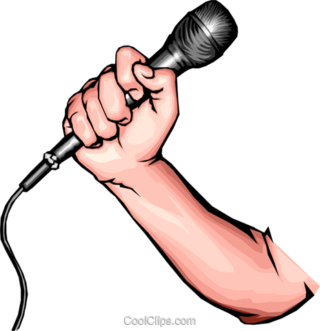 Hand with microphone Royalty Free Vector Clip Art illustration hand0023