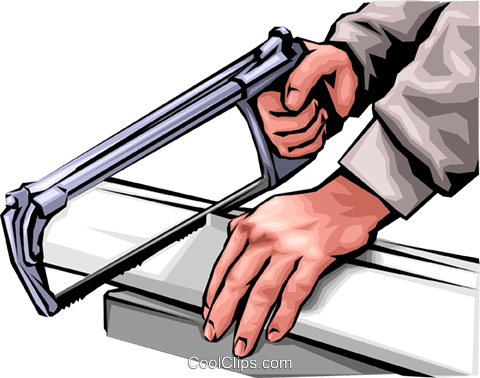 Hands with hacksaw Royalty Free Vector Clip Art illustration hand0029