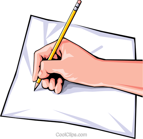 Hands writing Royalty Free Vector Clip Art illustration hand0032