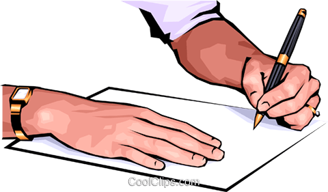 Hands writing Royalty Free Vector Clip Art illustration hand0037