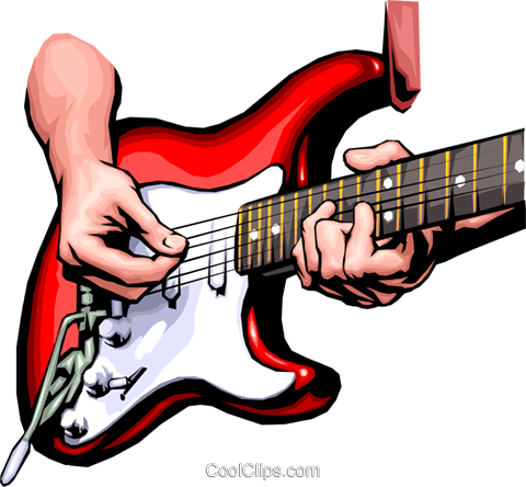 Hands playing the guitar Royalty Free Vector Clip Art illustration hand0040