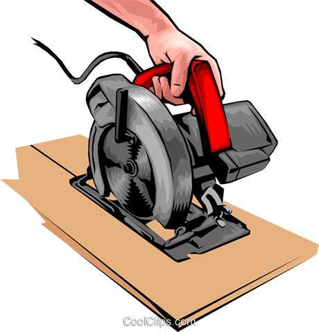 Hands with a power saw Royalty Free Vector Clip Art illustration hand0041