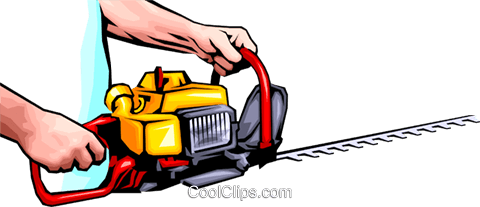 Hands with chainsaw Royalty Free Vector Clip Art illustration hand0045