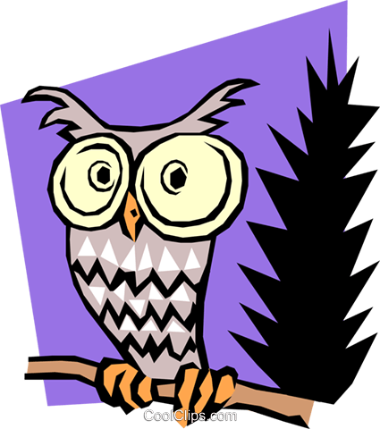 Cartoon Owl Royalty Free Vector Clip Art illustration anim0468