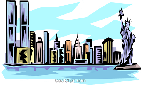New York skyline Royalty Free Vector Clip Art illustration arch0124