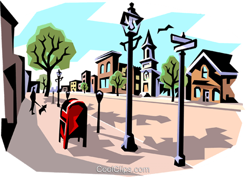 Street scene Royalty Free Vector Clip Art illustration arch0126