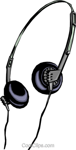 Stereo headphones Royalty Free Vector Clip Art illustration hous0254