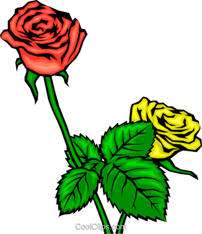 Red and yellow roses Royalty Free Vector Clip Art illustration natu0020
