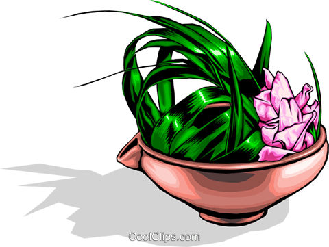 Japanese floral arrangement Royalty Free Vector Clip Art illustration natu0034