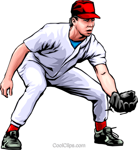 Baseball player fielding the ball Royalty Free Vector Clip Art illustration peop0042