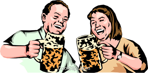 German party animals drinking beer Royalty Free Vector Clip Art illustration peop0043