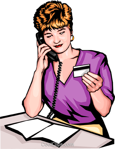 Woman placing phone order Royalty Free Vector Clip Art illustration peop0058