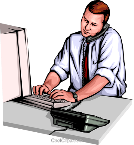Man working at computer Royalty Free Vector Clip Art illustration peop0059
