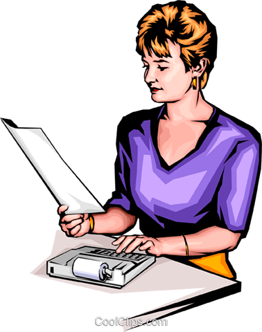 Woman with calculator Royalty Free Vector Clip Art illustration peop0064