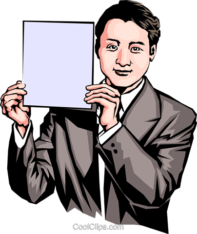 Man holding a sign Royalty Free Vector Clip Art illustration peop0074