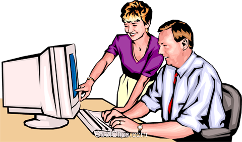 Man & woman working at computer Royalty Free Vector Clip Art illustration peop0084