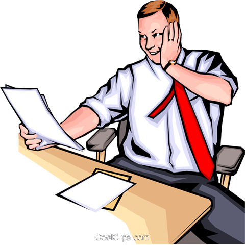 Man with papers Royalty Free Vector Clip Art illustration peop0095