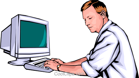 man with computers Royalty Free Vector Clip Art illustration peop0096