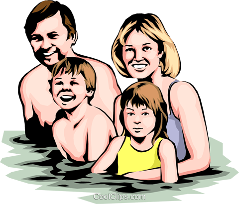 Family swimming Royalty Free Vector Clip Art illustration peop0102