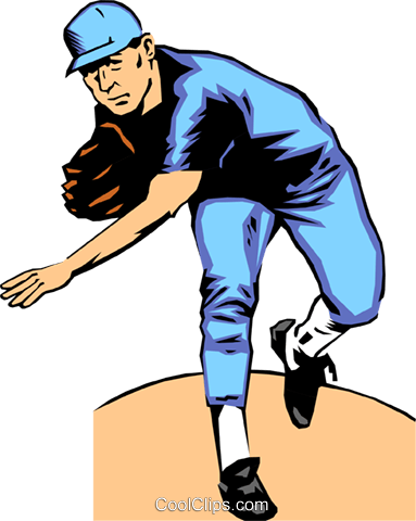 Baseball pitcher Royalty Free Vector Clip Art illustration peop0104