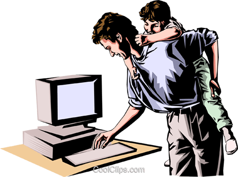 Father & son at computer Royalty Free Vector Clip Art illustration peop0105