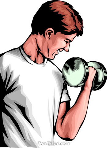 Man lifting weights Royalty Free Vector Clip Art illustration peop0109