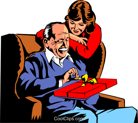 Father opening birthday Royalty Free Vector Clip Art illustration peop0115