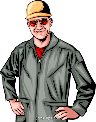 Man with a jumpsuit Royalty Free Vector Clip Art illustration peop0125