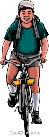 Japanese cyclist Royalty Free Vector Clip Art illustration peop0133