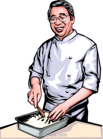 Japanese chef Royalty Free Vector Clip Art illustration peop0135